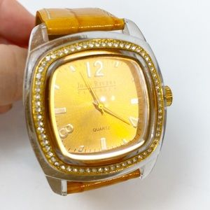 Joan Rivers Watch Yellow Gold Leather Large Face